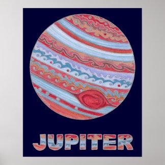 Astronomía colorida Júpiter 20 x 16 poster