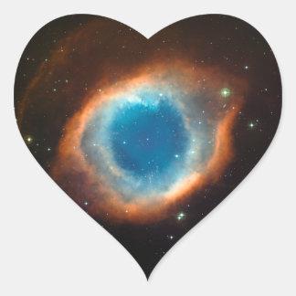 Astronomía de espacio de la nebulosa de la hélice pegatinas corazon personalizadas