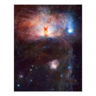 Astronomía de espacio de la nebulosa de la llama impresion fotografica