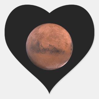 Astronomía de espacio marciana de Marte Pegatina De Corazon