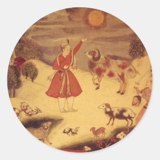 Astronomía del vintage bella arte celestial asiát pegatina redonda