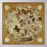 Astronomía del vintage, carta de estrella celestia posters