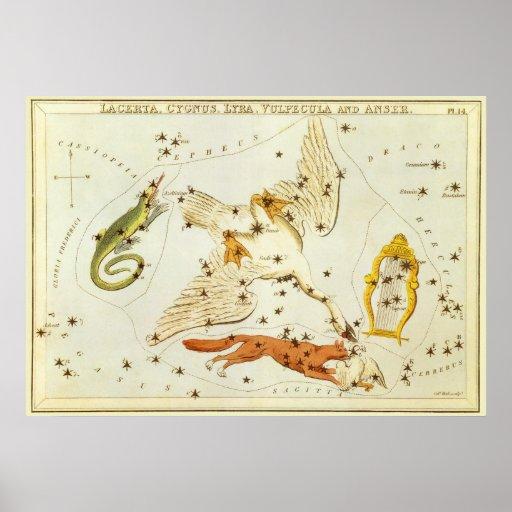 Astronomía del vintage, carta de estrella, mapa de impresiones