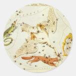 Astronomía del vintage, carta de estrella, mapa de pegatina redonda