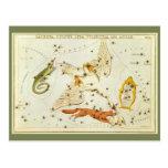 Astronomía del vintage, carta de estrella, mapa de tarjetas postales
