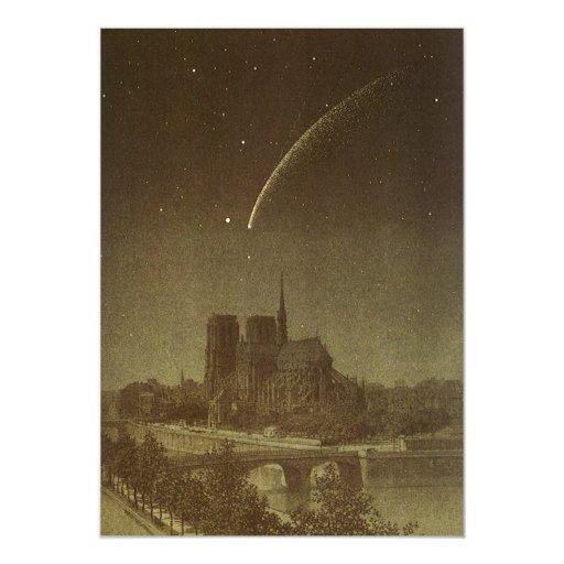 Astronomía del vintage, celestial, cometa de comunicados