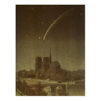 Astronomía del vintage, celestial, cometa de postal