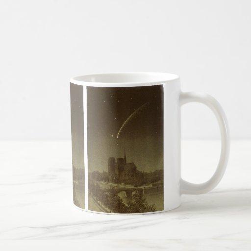 Astronomía del vintage, celestial, cometa de taza clásica