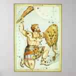 Astronomía del vintage, celestial, constelación de poster