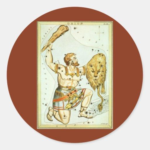 Astronomía del vintage, celestial, constelación de pegatina redonda