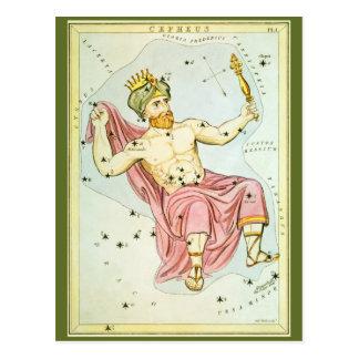 Astronomía del vintage, constelación celestial de  postal