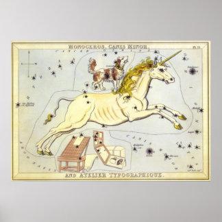 Astronomía del vintage, constelación de Monoceros  Posters