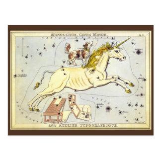 Astronomía del vintage, constelación de Monoceros Tarjeta Postal
