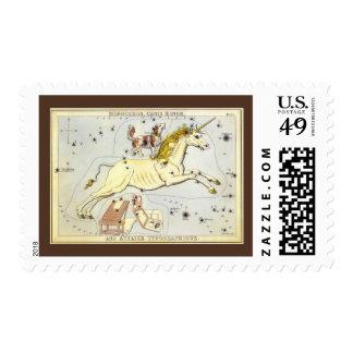 Astronomía del vintage, constelación del unicornio sellos