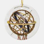 Astronomía del vintage, esfera artificial, tierra, adorno