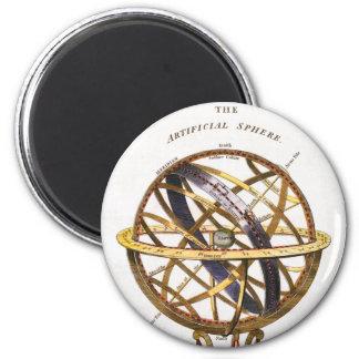 Astronomía del vintage esfera artificial tierra imán de frigorífico