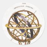 Astronomía del vintage, esfera artificial, tierra, pegatinas redondas