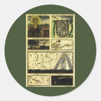 Astronomía del vintage, estrellas celestiales, etiquetas redondas