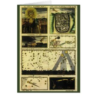 Astronomía del vintage, estrellas celestiales, felicitacion