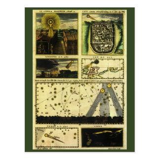 Astronomía del vintage, estrellas celestiales, tarjetas postales