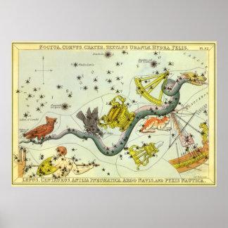 Astronomía del vintage, estrellas de la constelaci impresiones