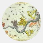 Astronomía del vintage, estrellas de la constelaci pegatina redonda
