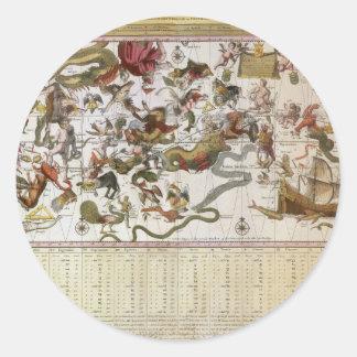 Astronomía del vintage, mapa celestial de la carta pegatina redonda