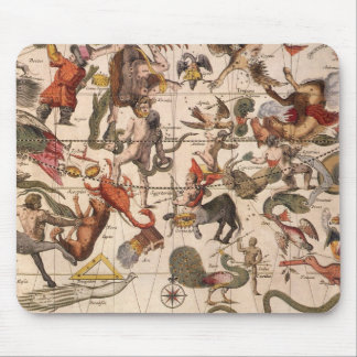 Astronomía del vintage mapa celestial de la carta tapete de ratón