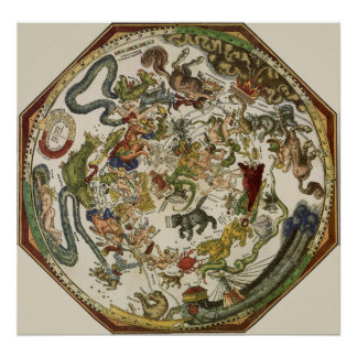Astronomía del vintage, mapa celestial de Peter Ap Posters