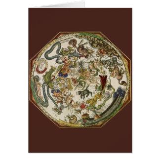 Astronomía del vintage, mapa celestial de Peter Felicitacion