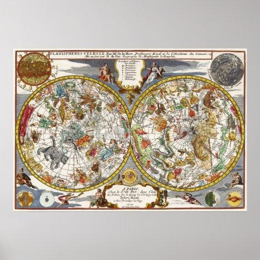 Astronomía del vintage, mapa celestial del planisf impresiones