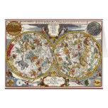 Astronomía del vintage, mapa celestial del planisf felicitacion