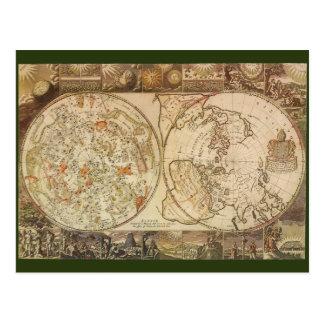 Astronomía del vintage, mapa celestial del postales