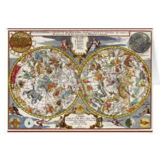 Astronomía del vintage, mapa celestial del tarjeta de felicitación