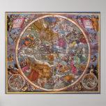 Astronomía del vintage, mapa de constelaciones cri posters