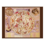 Astronomía del vintage, mapa de estrella celestial comunicado personalizado
