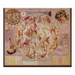 Astronomía del vintage, mapa de estrella celestial posters