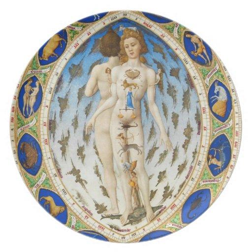 Astronomía del vintage - placa de la astrología platos de comidas