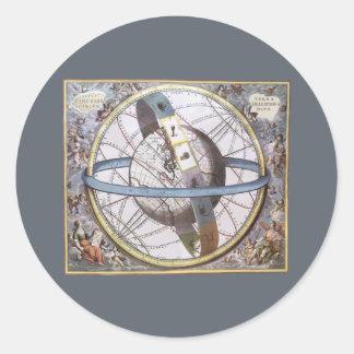 Astronomía del vintage, zodiaco celestial del pegatina redonda
