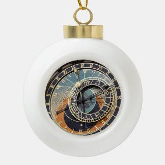 Astronomical Clock In Prague Ceramic Ball Christmas Ornament