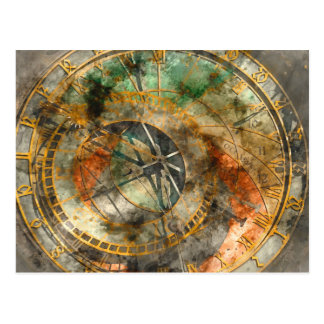 Astronomical clock in Prague Postcard