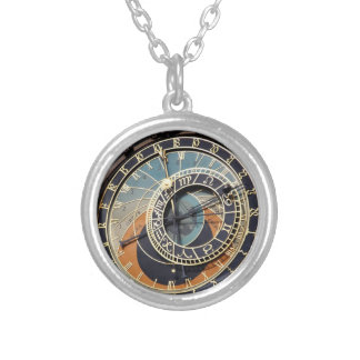 Astronomical Clock In Prague Round Pendant Necklace