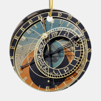Astronomical Clock In Praque Double-Sided Ceramic Round Christmas Ornament