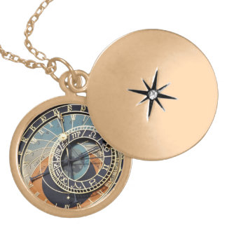 Astronomical Clock In Praque Gold Plated Necklace