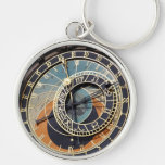 Astronomical Clock In Praque Silver-Colored Round Keychain