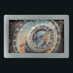 """Astronomical Clock In Praque Rectangular Belt Buckle<br><div class=""""desc"""">photography in black blue and orange. detailed color photography of a  historical,  medieval landmark,  an old astronomical clock in prague  in europe with blue,  orange,  and brown,  astrology signs  and roman numerals. photography in blacks blues and oranges.</div>"""