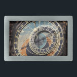"Astronomical Clock In Praque Rectangular Belt Buckle<br><div class=""desc"">photography in black blue and orange. detailed color photography of a  historical,  medieval landmark,  an old astronomical clock in prague  in europe with blue,  orange,  and brown,  astrology signs  and roman numerals. photography in blacks blues and oranges.</div>"