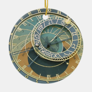 Astronomical Clock Double-Sided Ceramic Round Christmas Ornament