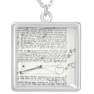 Astronomical diagrams square pendant necklace