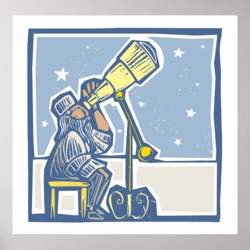 Astrónomo en la noche póster